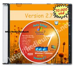 Đĩa cài windows 7 tự động Ultimate 64bit Office 2007 version 2.7