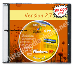 Đĩa cài windows XP tự động Pro SP2 32bit Office 2003 version 2.7