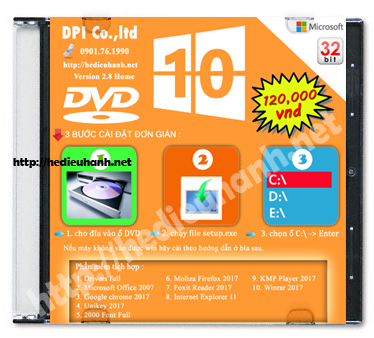 Đĩa cài windows 10 Home 32bit Office 2007 version 2.8