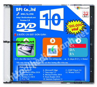 Đĩa cài windows 10 Pro 32bit Office 2010 version 2.8