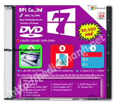 Đĩa cài windows 7 Home 32bit Office 2007 version 2.8