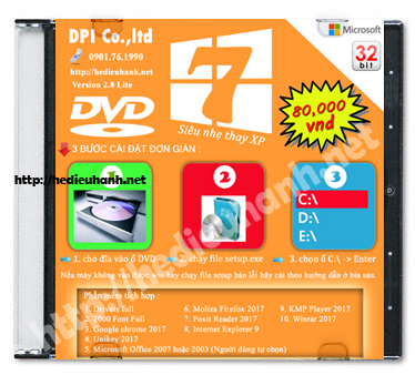Đĩa cài windows 7 Lite 32bit Office 2003-2007 version 2.8