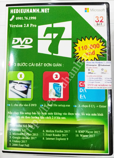 Đĩa cài windows 7 Pro 32bit Office 2013 version 2.8