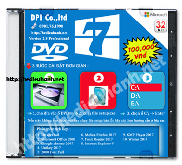 Đĩa cài windows 7 Pro 32bit Office 2010 version 2.8
