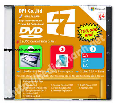 Đĩa cài windows 7 Pro 64bit Office 2010 version 2.8