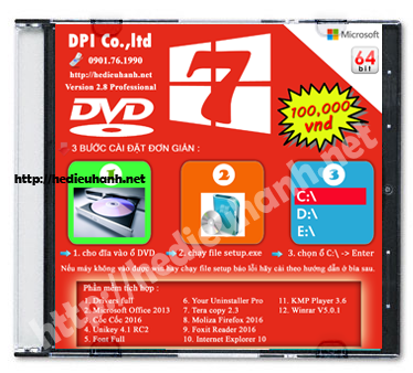 Đĩa cài windows 7 Pro 64bit Office 2013 version 2.8