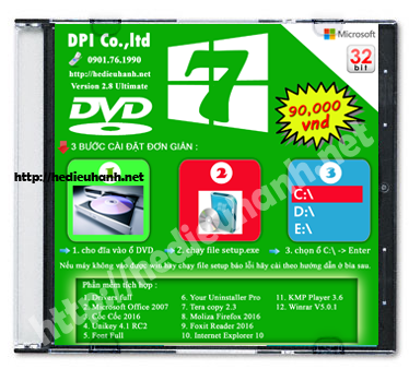 Đĩa cài windows 7 Ultimate 32bit Office 2007 version 2.8