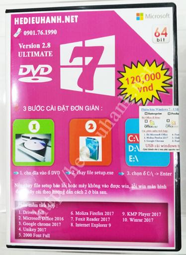 Đĩa cài windows 7 Ultimate 64bit Office 2016 version 2.8