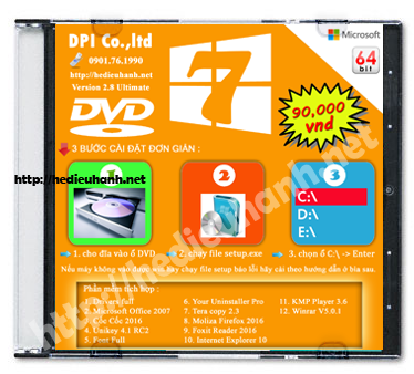 Đĩa cài windows 7 Ultimate 64bit Office 2007 version 2.8