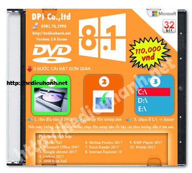 Đĩa cài windows 8.1 Home 32bit Office 2007 version 2.8