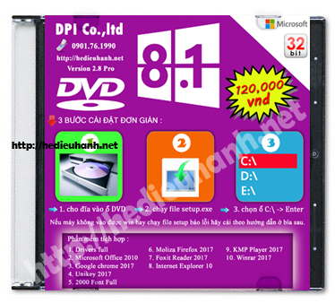 Đĩa cài windows 8.1 Pro 32bit Office 2010 version 2.8