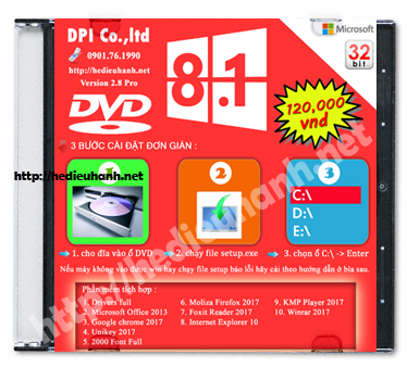 Đĩa cài windows 8.1 Pro 32bit Office 2013 version 2.8