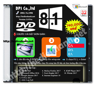 Đĩa cài windows 8.1 Pro 32bit Office 2016 version 2.8
