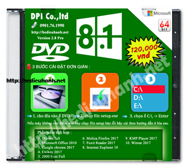 Đĩa cài windows 8.1 Pro 64bit Office 2010 version 2.8