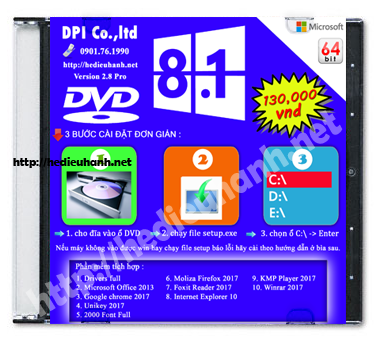 Đĩa cài windows 8.1 Pro 64bit Office 2013 version 2.8
