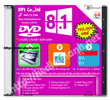 Đĩa cài windows 8.1 Pro 64bit Office 2016 version 2.8