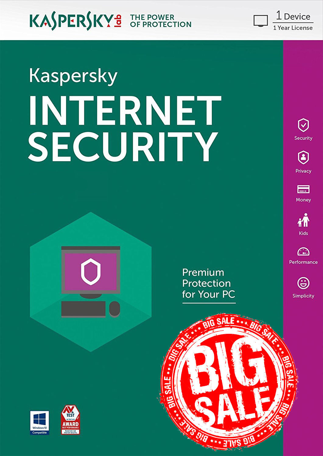 Kaspersky internet security 2019 1PC 1Year global - key