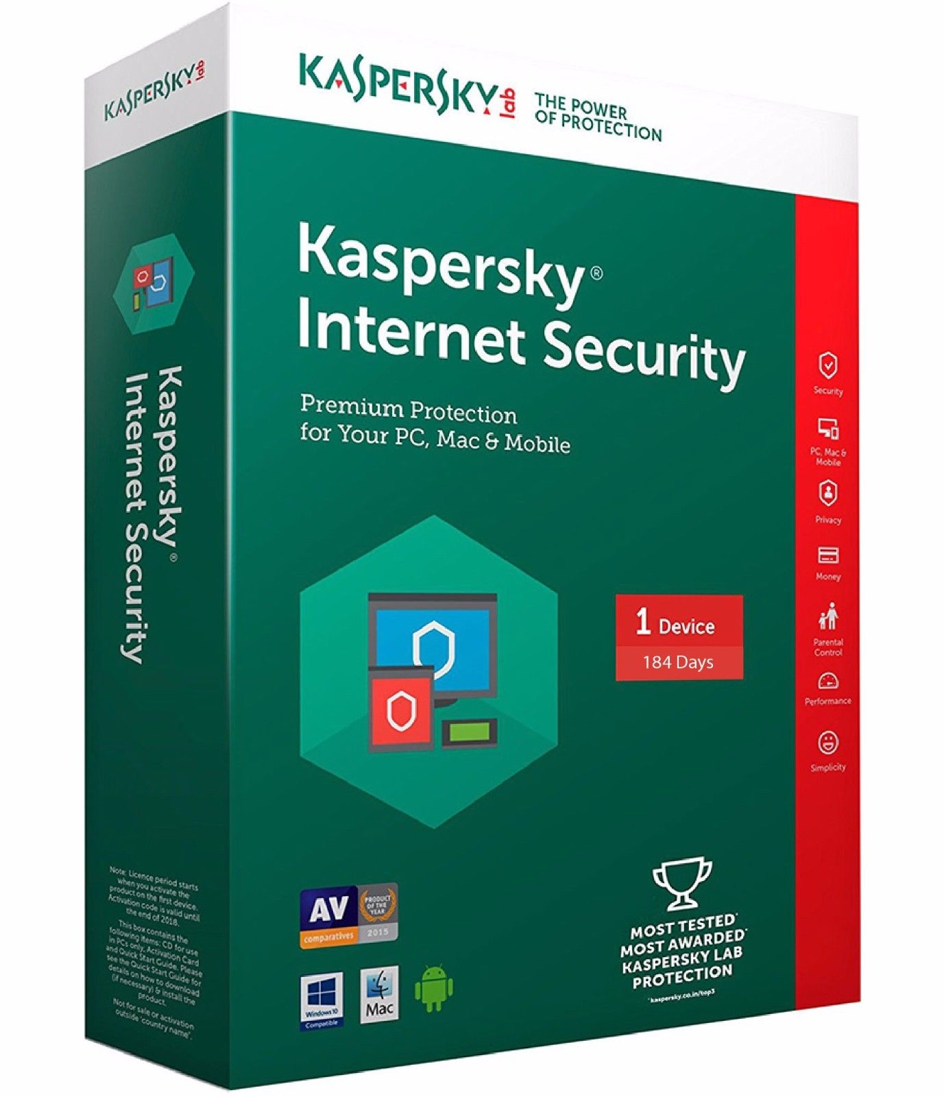 Kaspersky Internet Security 2018 Global License Key 184 days 1 PC/Multi Device