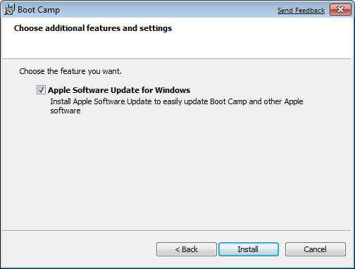 mục Apple Software Update for Windows đã được đánh tích lựa chọn, sau đó click chọn Install
