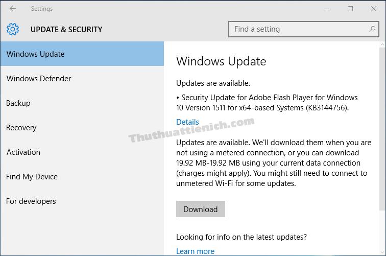 Windows Update sẽ không tự động tải về các bản cập nhật