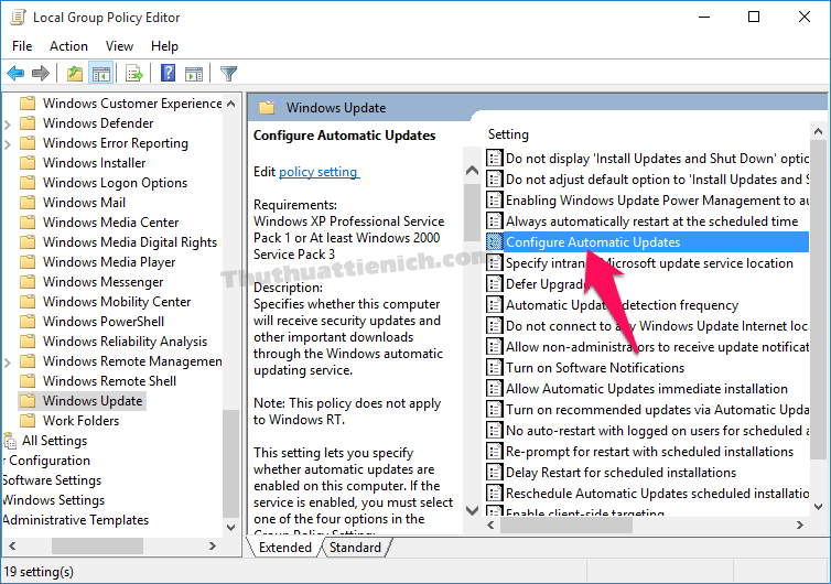 Nhấn đúp chuột vào tùy chọn Configure Automatic Updates