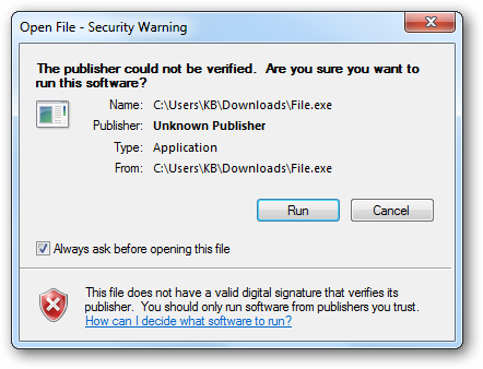 Gở bỏ cảnh báo Open File – Security Warning Window