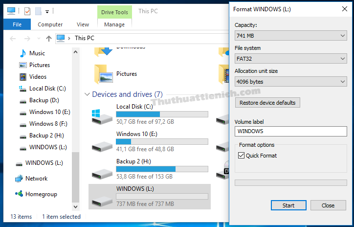 Format bằng trình Format của Windows cũng không được