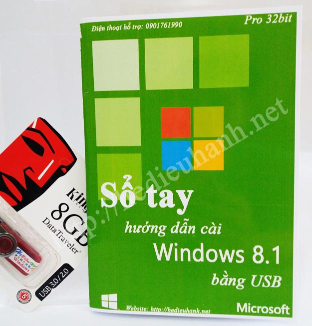 Sổ tay hướng dẫn cài windows 8.1 Pro 32bit bằng USB