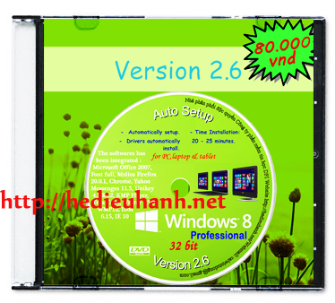 Windows 8 cài đặt tự động(Auto Setup) 32bit ver 2.6