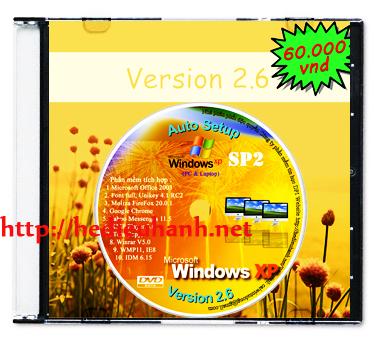 Windows XP SP2 cài đặt tự động(Auto Setup) 32bit ver 2.6