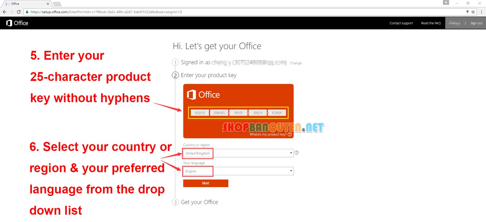 Activation of Office 2016 with license key