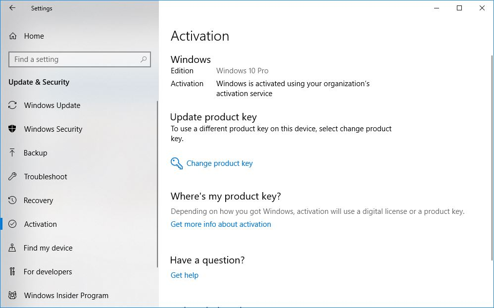 Windows is actived using your organization's activation service