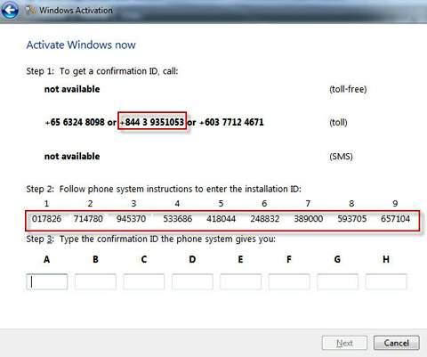 Hỗ trợ lấy mã Step 3 kích hoạt bản quyền Windows 7, 8.1, 10 và Office qua Phone Online